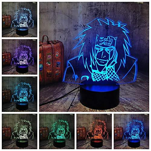 Luz nocturna 3D de Japón Anime Naruto Figura Jiraya 3D LED luz nocturna Naruto USB sensor táctil decoración habitación lámpara amigo lámpara de cumpleaños lámpara de escritorio lámpara de noche ZGLQ