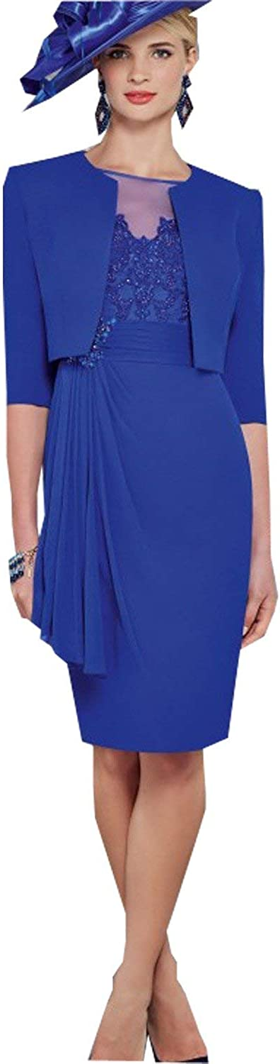 Portsvy Royal bluee 2 Pieces Lace Satin Round Neck Mother of The Bride Dresses for Mother