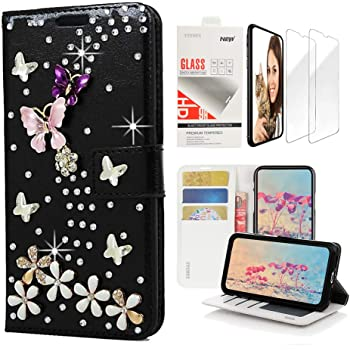 STENES Bling Wallet Phone Case Compatible with Samsung Galaxy A10e - Stylish - 3D Handmade S-Link Butterfly Floral Design Leather Cover with Screen Protector [2 Pack] - Black