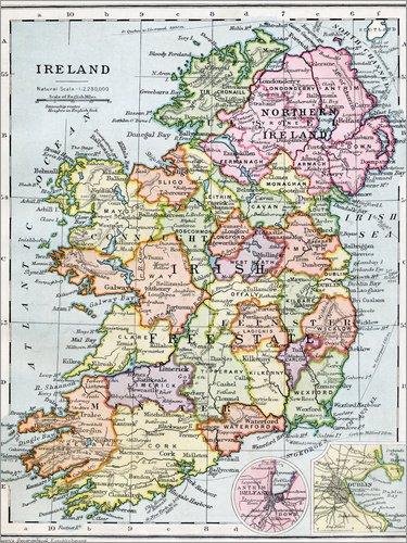 Posterlounge Acrylglasbild 70 x 90 cm: Freistaat Irland und Nordirland von Ken Welsh/Design Pics - Wandbild, Acryl Glasbild, Druck auf Acryl Glas Bild