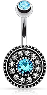 Zhichengbosi Blue Crystal Flower Navel Ring Piercing Belly Button Ring Body Jewelry Vintage Ring Bar