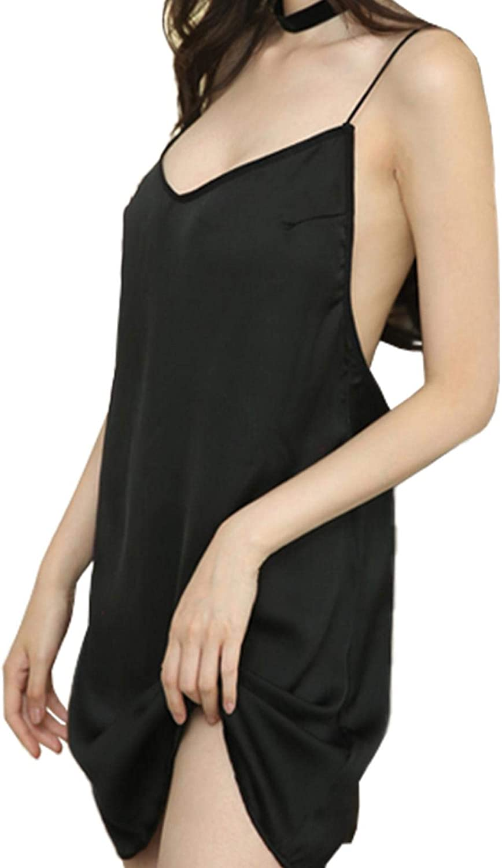 XUDES Womens Sexy Lingerie Chemises Sling Backless Nightgown Full Slip Sleep Dress Lace Lounge Sleepwear Dress-Black-S(40-55KG)