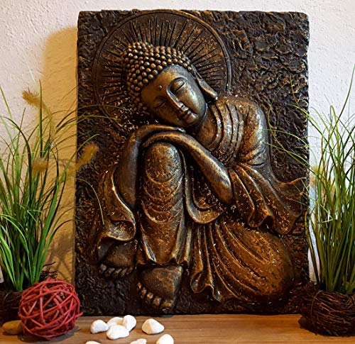 LB H&F Wandrelief Buddha Relief Gold Schwarz 3D Bild Wandskulptur zum aufhängen oder hinstellen 38x30 cm Wandbild Asien Skulptur Deko massiv 3 kg