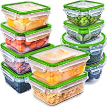 Fullstar (10 Pack) Food Storage Containers with Lids - Green Plastic Food Containers with Lids - Plastic Containers with Lids - Airtight Leak Proof Easy Snap Lock and BPA-Free Plastic Container Set