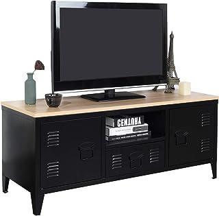 Meuble Cosy Grand Espace 1 Tiroir, 2 Portes Métal Bureau Armoire, Buffet de Rangement, Meuble Télévision, Oak, 120 X 40 X ...