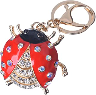 Girl's Labybug Keychain Gold Plated Bag Charm Cute Car Key Ring Crystal Purse Pendant #51615