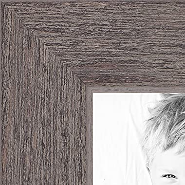 ArtToFrames 11x14 inch Grey Rustic Barnwood Wood Picture Frame, WOM0066-1343-YGRY-11x14