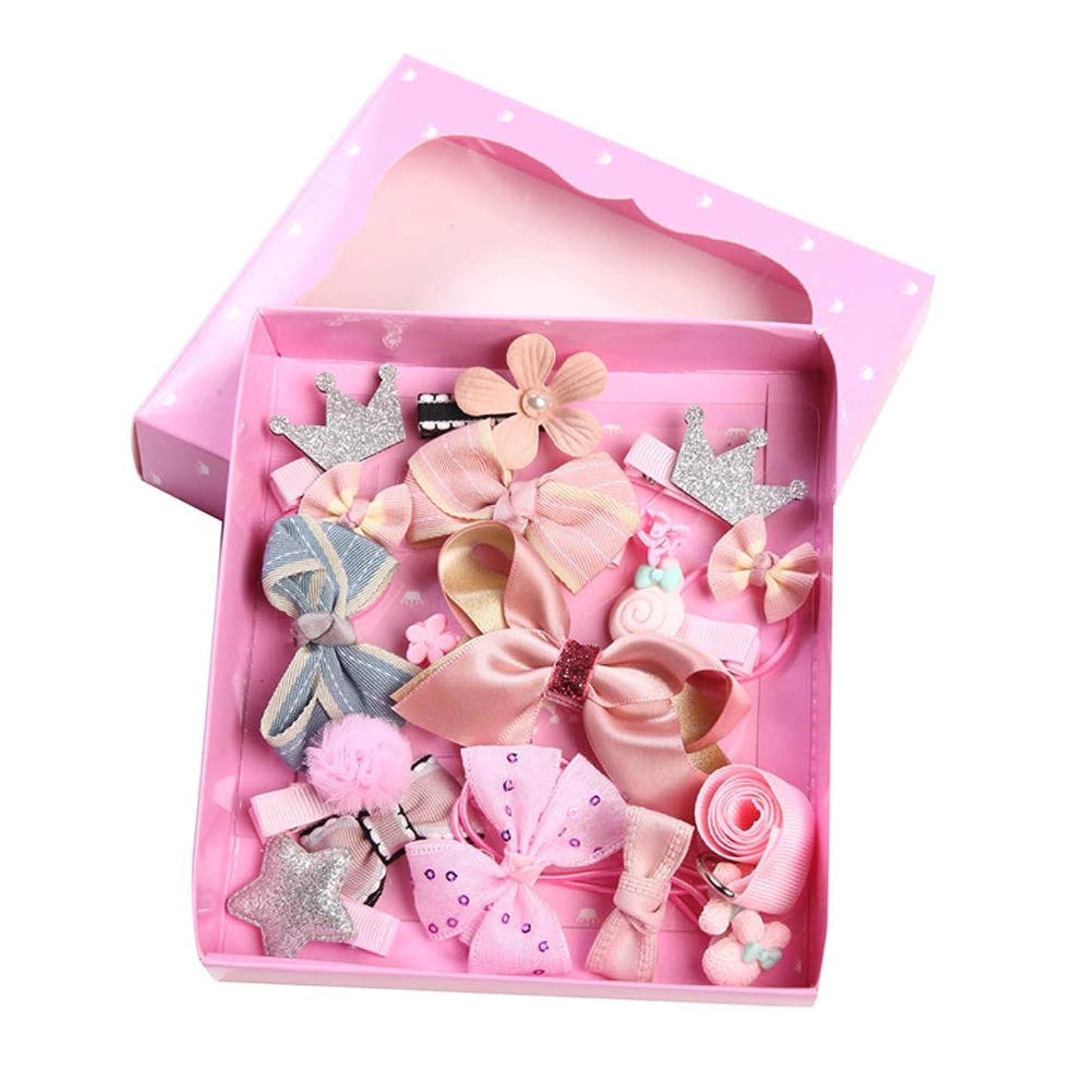 ボーカル市町村恐ろしいgoupgolboll-18個/セットキッズガールちょう結びクラウンフラワーポンポンヘアピンクリップヘアロープ帽子 - ピンク