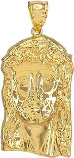 14k Yellow Gold Jesus Face Necklace Pendant, 1.5