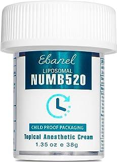 Ebanel 5% Lidocaine Topical Numbing Cream Maximum Strength 1.35 Oz, Numb 520 Pain Relief Cream Anesthetic Cream Infused wi...