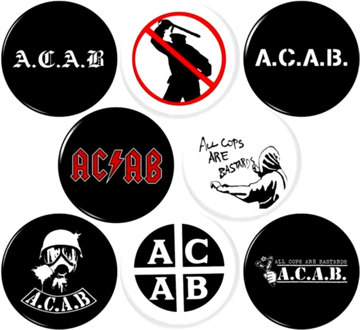 ACAB x 8 New 1 inch pins Buttons Badge All cops are Bastards Anti Police