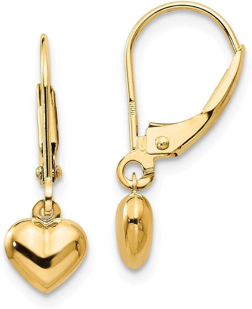 14k Yellow Gold Heart Drop Dangle Chandelier Leverback Earrings Lever Back Love Fine Jewelry For Women Gifts For Her
