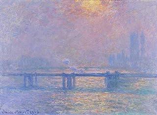 Claude Monet - Charing Atravesar Puente (El Thames) Reproducción Cuadro sobre Lienzo Enrollado 90X65 cm - Paisajes Pinturas Impresións Decoración Muro