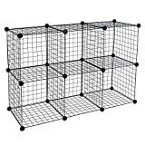 Work-It! Wire Storage Cubes, 6-Cube Metal Grid Organizer | Modular Wire Shelving Units, Stackable Bookcase, DIY Closet Cabinet Organizer for Home, Office, Kids Room | 14' W x 14' H, Black