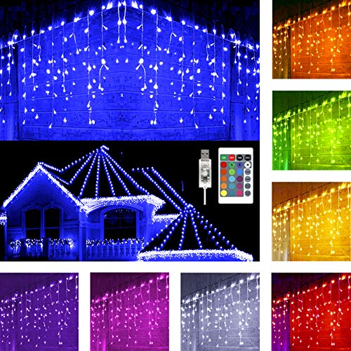 Hezbjiti Icicle Lights, 5m 160 LED 16 Colors Changing Icicle Fairy Lights & Timer, Waterproof String Lights for Easter Home Party Birthday Wedding Holiday Outdoor Indoor Decoration (Not Include Plug)