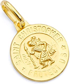14k REAL Yellow Gold Religious Saint Christopher Medal Charm Pendant - 3 Different Size Available