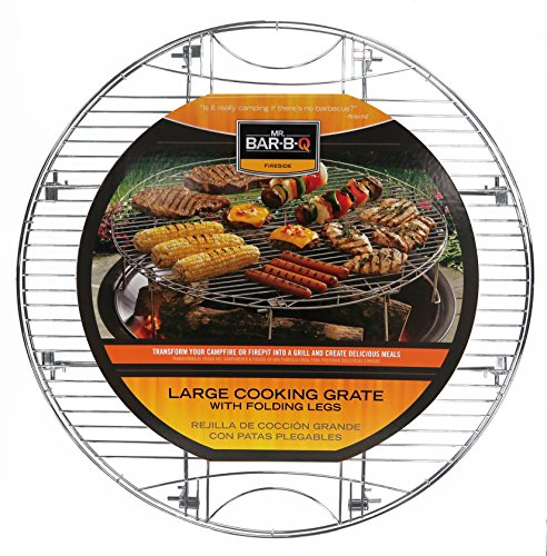 Mr. Bar-B-Q 08600YFS Large Cooking Grate | Folding Legs | Sturdy Design | Transforms Fire Pits Into Grills | Fits Fire Pits 21-29 Inches in Diameter | Raised Edges to Stop Food from Falling Off