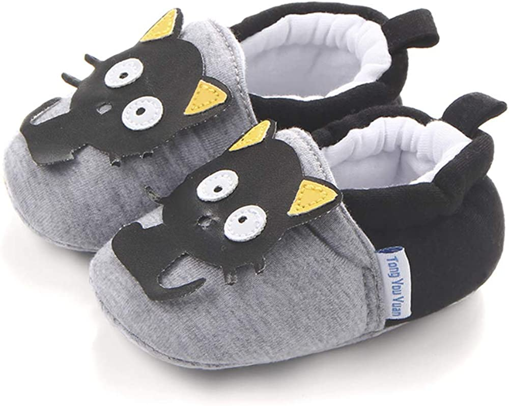 Black and Grey Baby Slippers, with Cute cat Insert Design on Front, Very Soft and Comfortable
