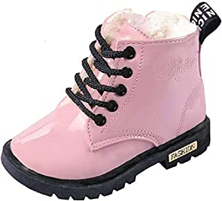 WUIWUIYU Boys' Girls' Fashion Lace-Up Zipper Ankle Boots Plush Snow Boots (Toddler/Little Kid/Big Kid)