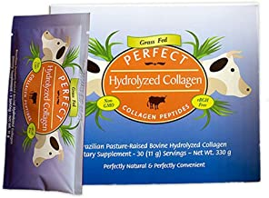 Perfect HYDROLYZED Collagen - 30 Single Serving Packets - 100% HYDROLYZED Collagen SOURCED Exclusively from Brazilian Pasture Raised (Grass FED) Cows