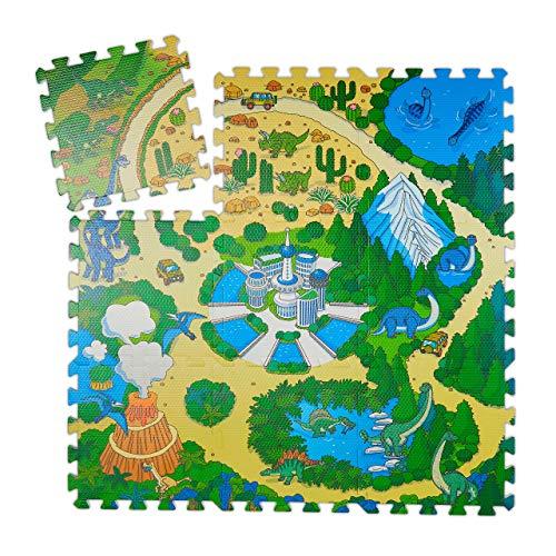 Relaxdays Puzzlematte Dinosaurier, 9-teilige Puzzlematte für Kinder, schadstofffrei, EVA Schaumstoff, 90 x 90 cm, bunt