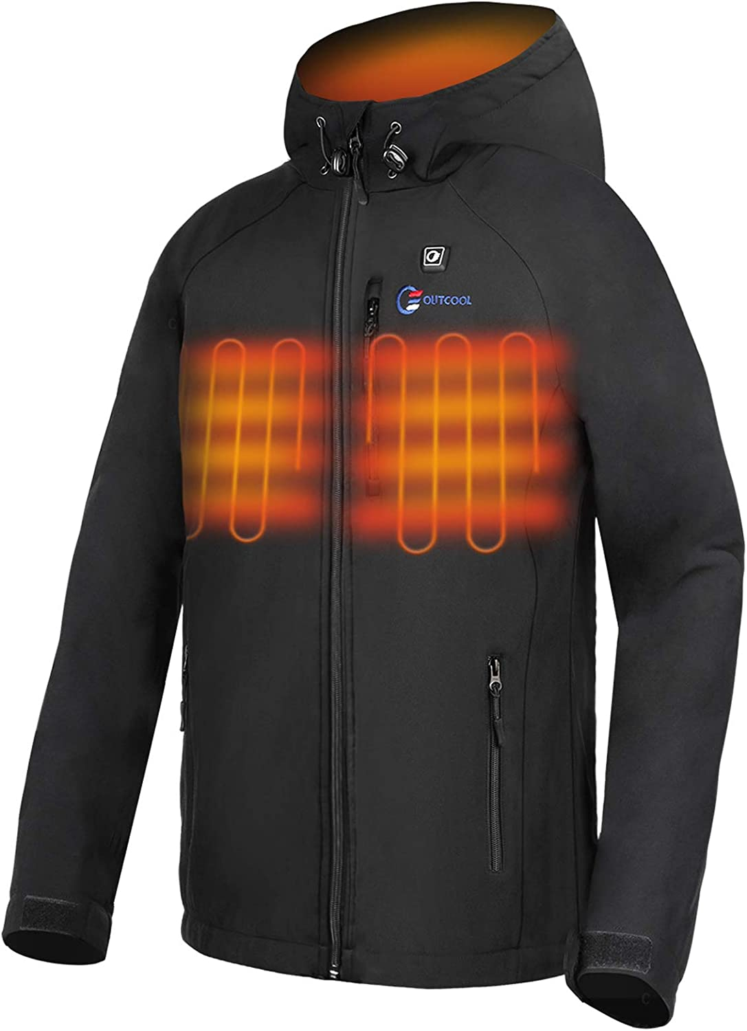 OUTCOOL Men's Heated Jacket with Hood Heating Jacket for Men (Type:YJ-524A-MJ)