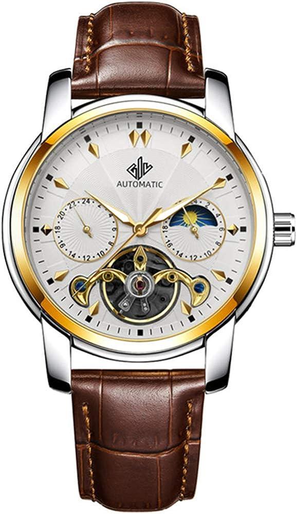 None_branded,orologio automatico per uomo,in acciaio inossidabile e cinturino in vera pelle lyp1wxe8795349