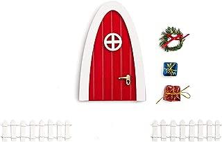blminiatures Red Elf Magic Girl Fairy Doors Pretend Playset Christmas Decorations/Decorative The Santa's Elves'Enchanted Door Outdoor Christmas Decor for Elf's Night Before Christmas