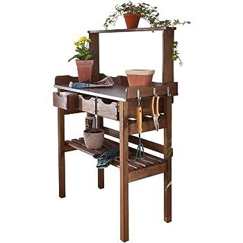Pureday Pflanztisch für Garten Terrasse Balkon - 3 Schubladen - 3 Haken - Holz - verzinkte Metall-Arbeitsfläche - braun - ca. 78 x 38 x 112 cm