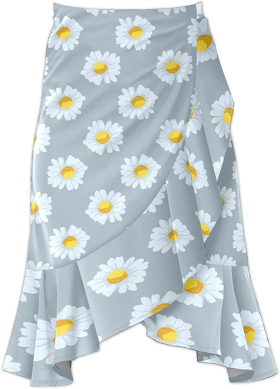 Women's Chamomile Flowers Irregular Hem Ruffle High Low Split A Line Midi Wrap Skirt