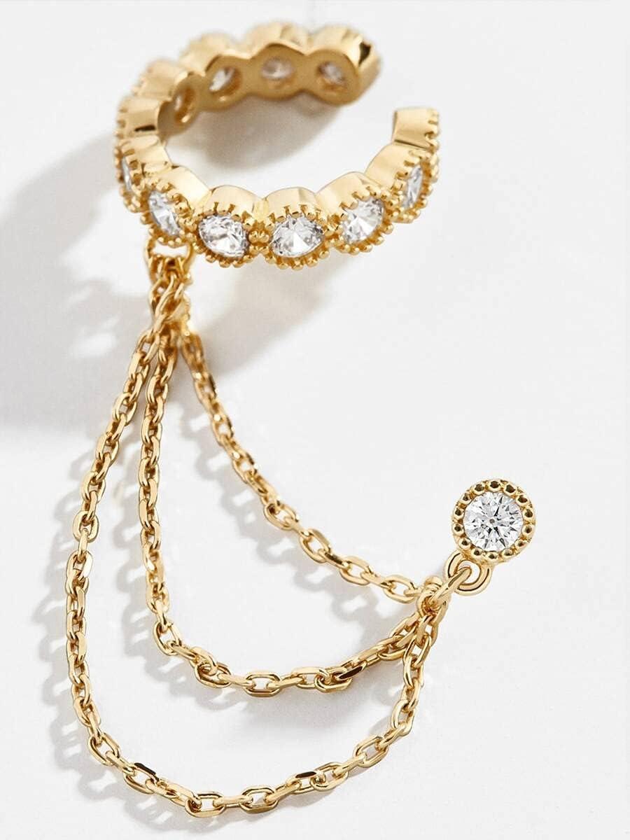 ZHCHL Hoop Earrings Chain Decor Ear Cuff (Color : Gold)