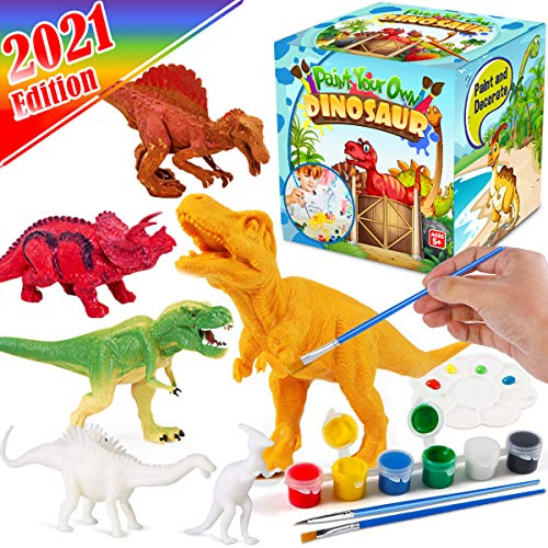 FunzBo Kids Crafts and Arts Set Painting Kit  Dinosaurs Toys Art and Craft Supplies Party Favors for Boys Girls Age 4 5 6 7 Years Old Kid Creativity DIY Gift Easter Paint Your Own Dinosaur Animal Set