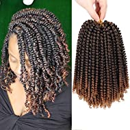 7 Packs Spring Twist Crochet Hair 8 Inch Bomb Twist Fluffy Spring Crochet Braiding Hair Afro Curly Braids Synthetic Braids Hair Extensions 15 Strands/Pack (#1B/30