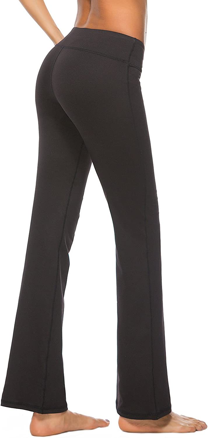Uhnice Yoga Pants with Pocket Control Easy-to-use Bootcut 4 years warranty Workout Boot Tummy