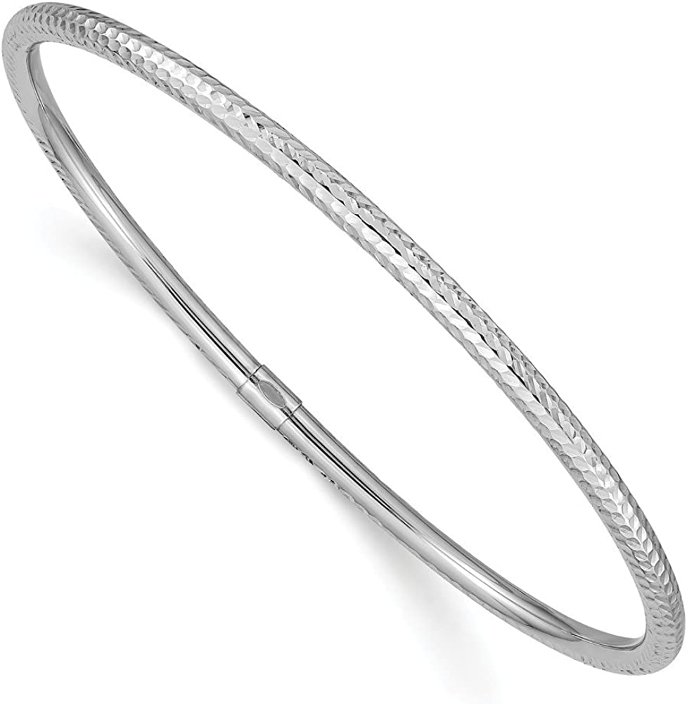 14k White Gold 3mm Slip On Bangle Bracelet Cuff Expandable Stackable Fine Jewelry For Women Gifts For Her
