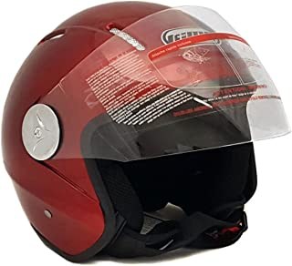 Motorcycle Scooter Open Face Helmet PILOT Flip Up Visor DOT - BURGUNDY GLOSSY FINISH - L