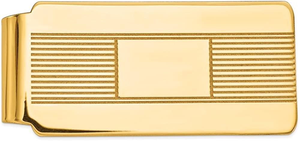 Solid 14k Yellow Gold Over item handling ☆ Men's Slim A surprise price is realized Card Credit Business Holder Mon