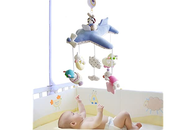 ded8d4fa13489 SHILOH Baby Crib Decoration 60 tunes Lullabies Plush Musical Mobile (Blue  Plane)