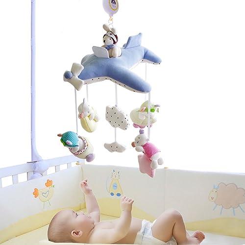 SHILOH Baby Crib Decoration Lullabies Plush Musical Mobile (Blue Plane)