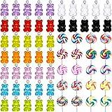 65 Piezas Encantos Gomosos Colgantes de Osos Encantos en Forma de Piruleta de Arcilla Polimérica Colgantes de Encantos Colorido de Joyería para Aretes Collar Pulsera Fabricación de Joyas DIY