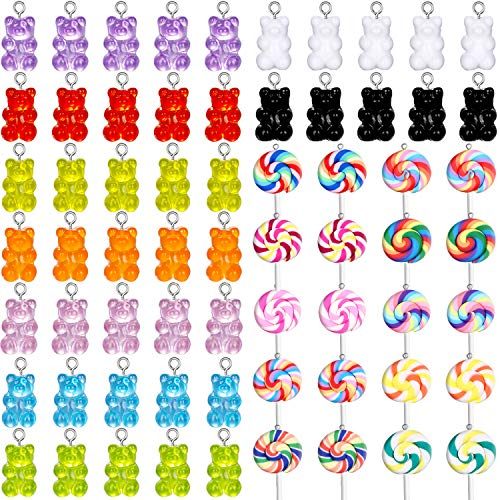 65 Pieces Gummy Charms Bear Pendants Polymer Clay Lollipop Shape Charm Colorful Jewelry Charm Pendants for Earrings Necklace Bracelet DIY Jewelry Making Supplies
