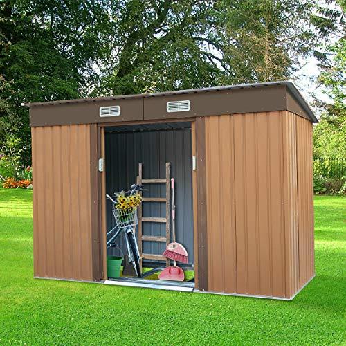 4.2' X 9.1' Steel Outdoor Storage Shed Garden Backyard Tool House Sliding Door