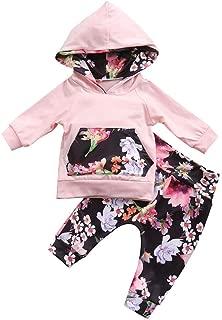 TOBABYFAT Newborn Baby Girl Winter Outfit Set Pink Floral Print Hoodie Top Pant