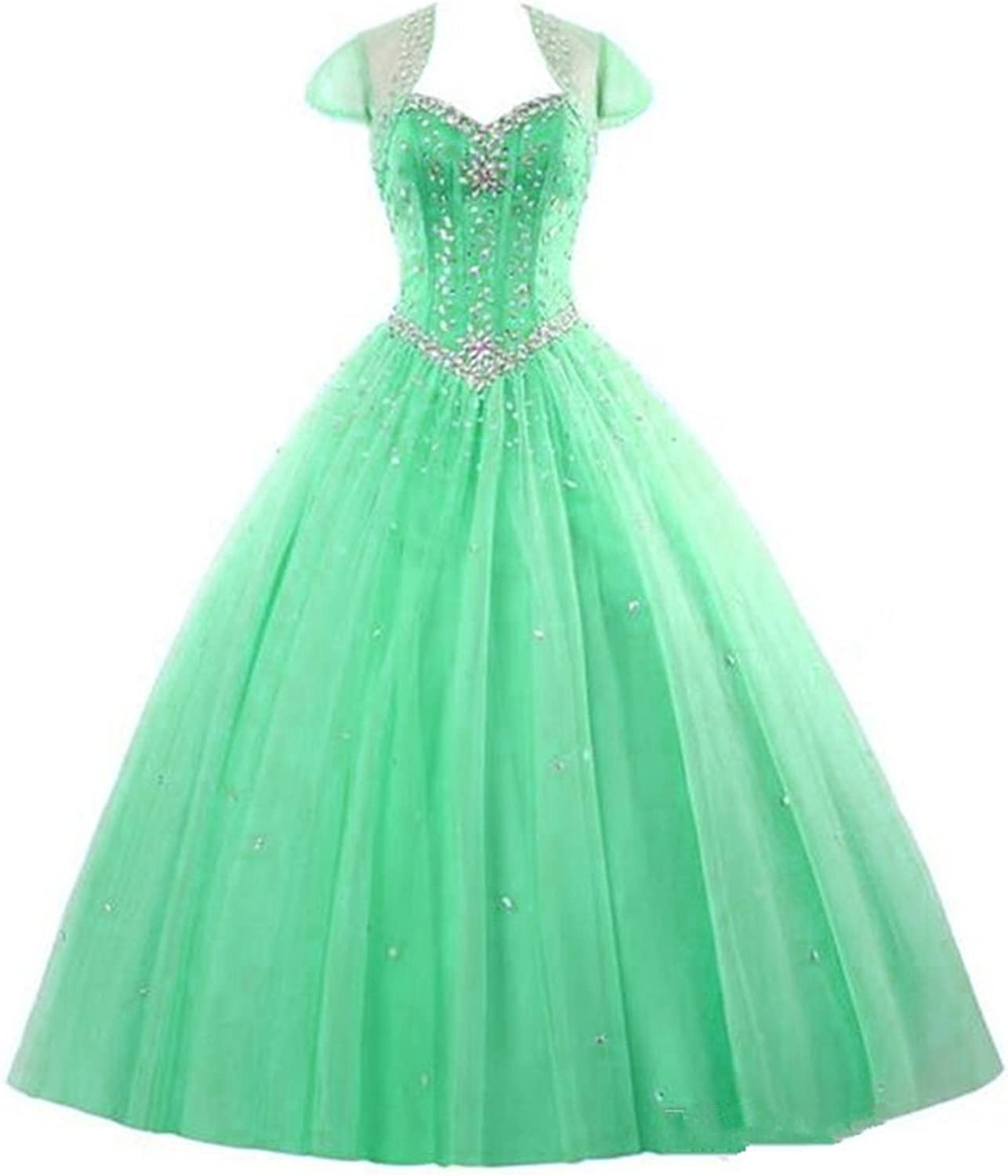 BEALEGAN Lady Women's Beads Crystals Tulle Prom Quinceanera Dresses With Jacket