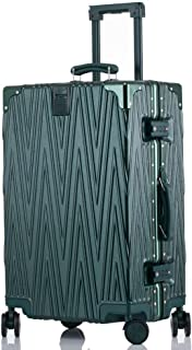 SMLCTY Scratch-resistant Aluminum Frame Trolley Case,Lightweight ABS Hard Shell Hold Check In Luggage Suitcase with 4 Wheels (Color : Dark green, Size : 24 inch)