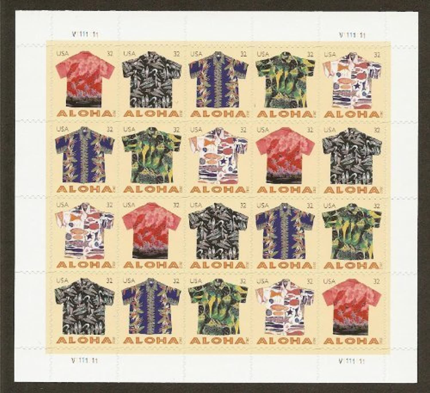 Aloha Shirts Sheet of 20 Mint NH US Postage 32c Stamps 4592-4596 by USPS