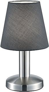 TRIO, Lampe de table, Mats 1xE14, max.40,0 W Tissu, Gris, Corps: metal, Nickel mat Ø:14,0cm, H:24,5cm IP20,Interrupteur ta...