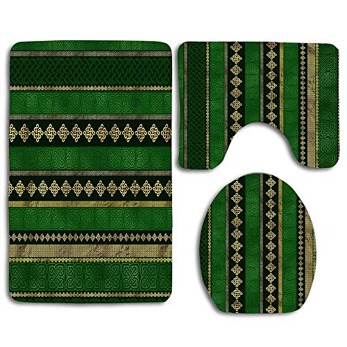 NEWCOCO Toilet Seat Cover Bath Mat Lid Cover,3pcs/Set Rugs Celtic Knot Decorative Gold and Green Pattern