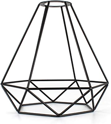 D9A8 Black Ceiling Shade Cage Guard Bulb Light W//Cable Square E27 Lamp