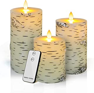 """Flameless LED Candles,Yinuo Candle Flickering Birch Unscented Pillar 100 Hours Moving Flame 4"""" 5"""" 6"""" Set of 3 Real Wax Battery Operated withTimer Remote Control For Valentine`s Day Wedding Party Decor"""